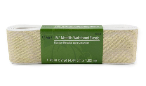 "Dritz 1.75"" Knit Elastic Metallic White & Gold"
