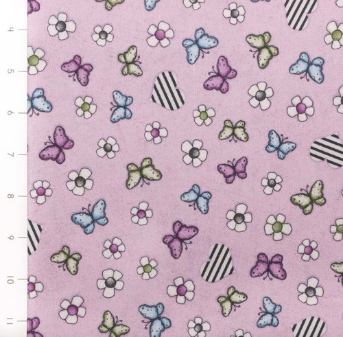 On Top of the World Butterfly, Heart, Flower Toss by Quilting Treasures