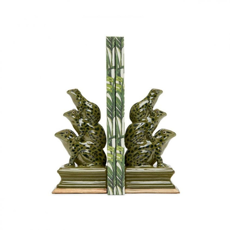Frog Moss Green Bookend