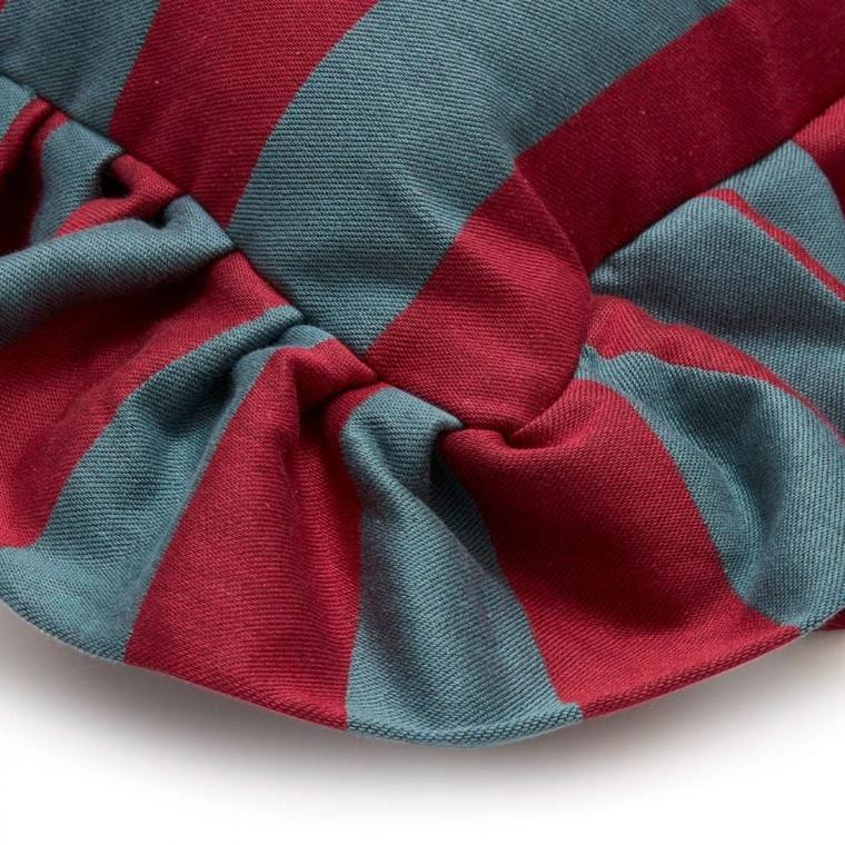 Camelot Stripe Garnet & Petrol Medium Cushions
