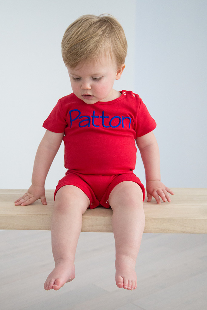 Boys Short Sleeve Knit Rompers