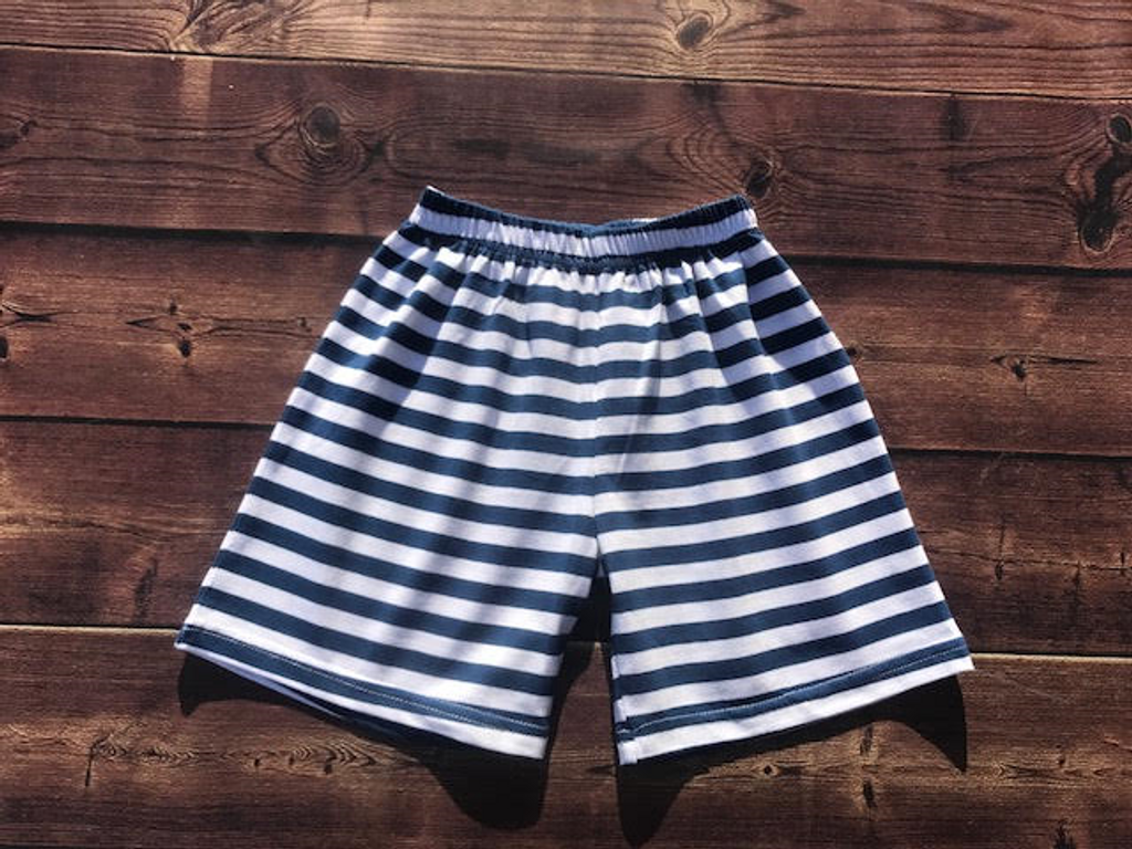 Navy and white knit shorts
