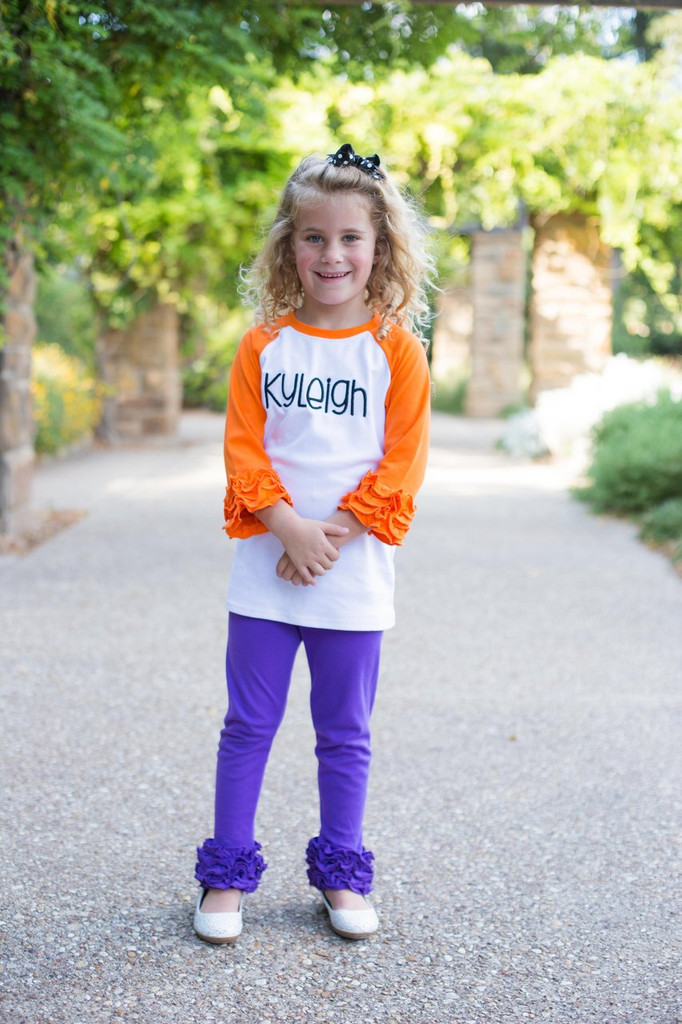 orange ruffle raglan