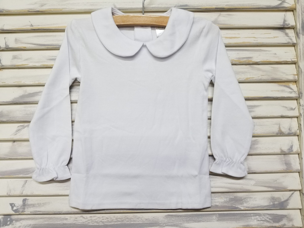 9482b7839 Girls Long sleeve peter pan collar shirt without crochet detail