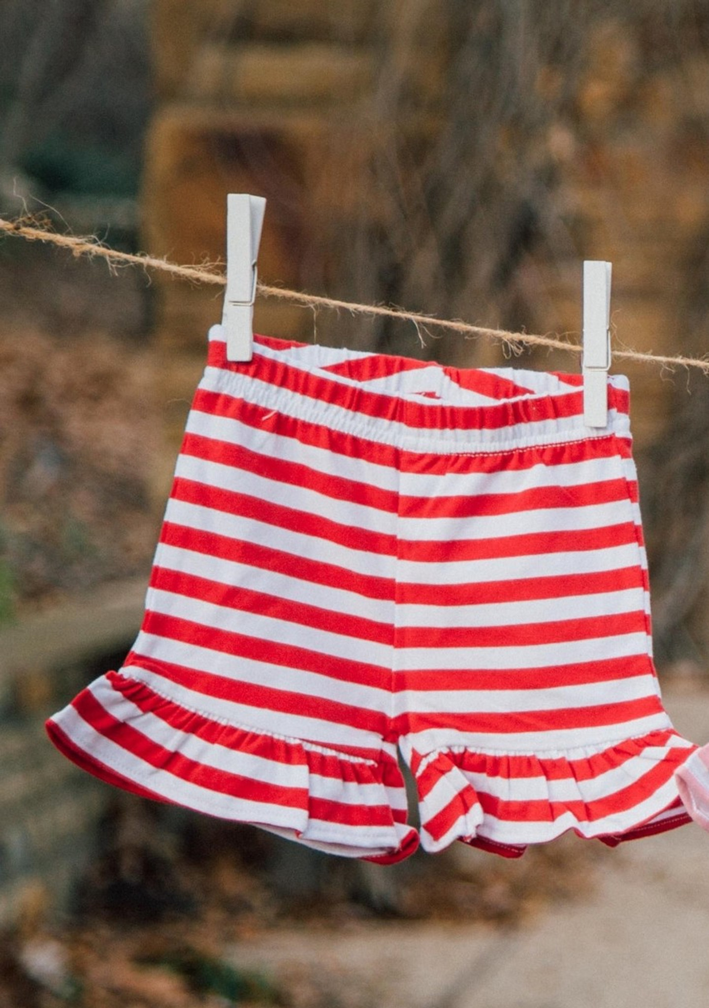 red and white knit shorties