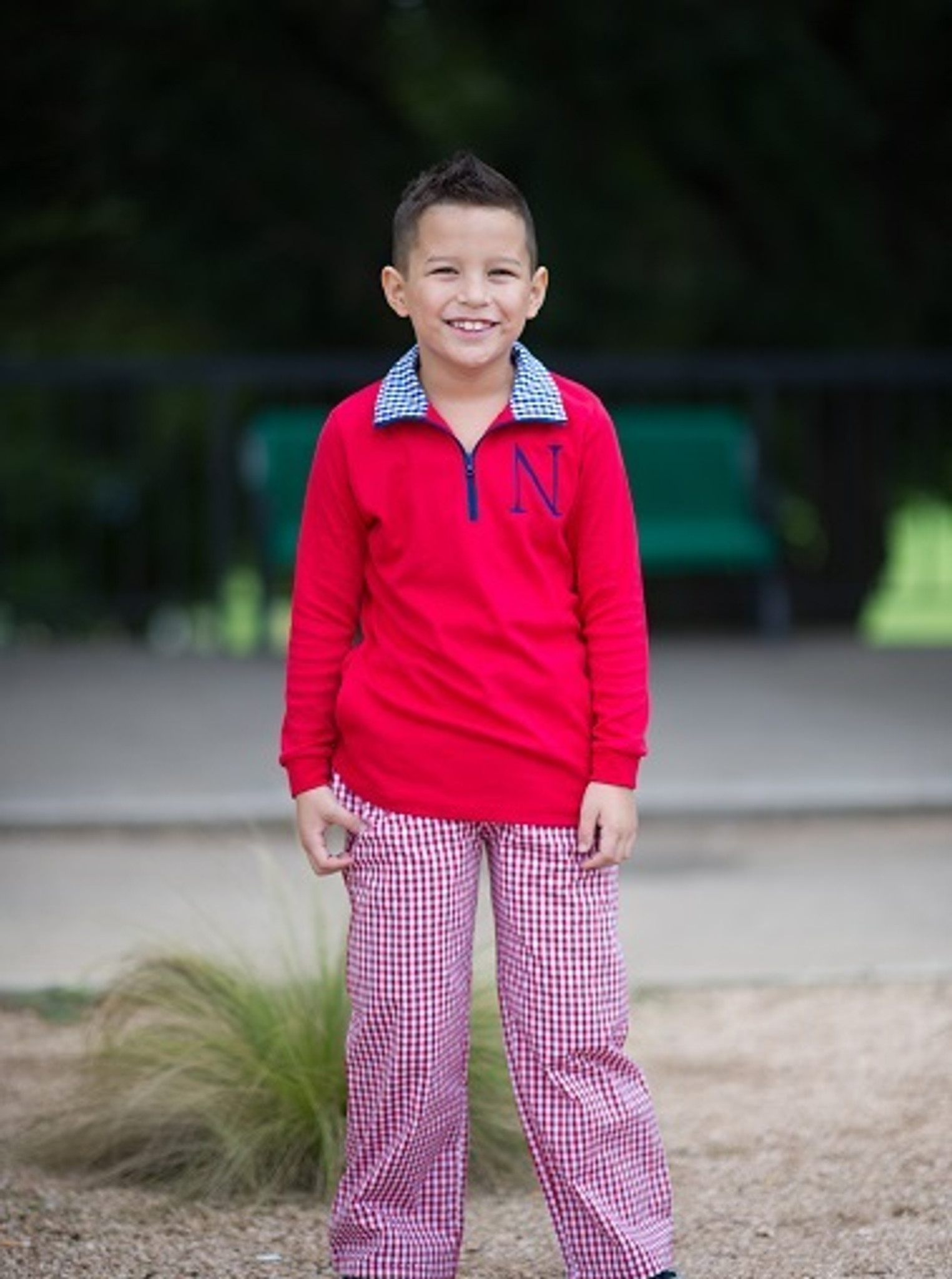 Red gingham pants