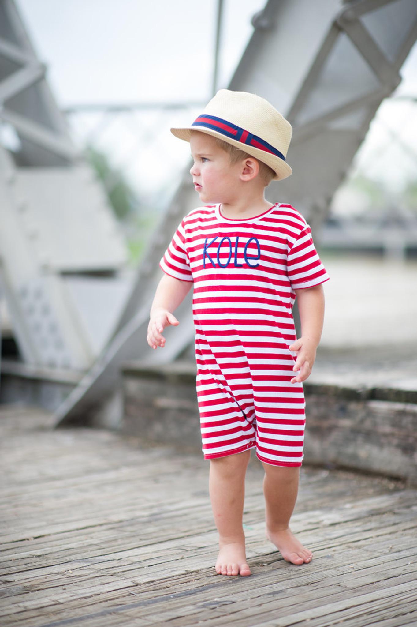 Red and white stripe romper