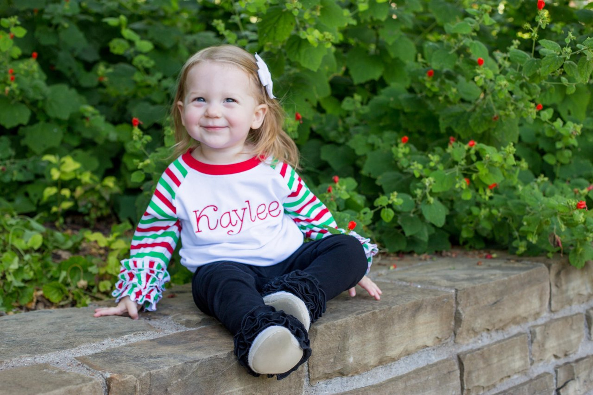 red green and white ruffle raglan