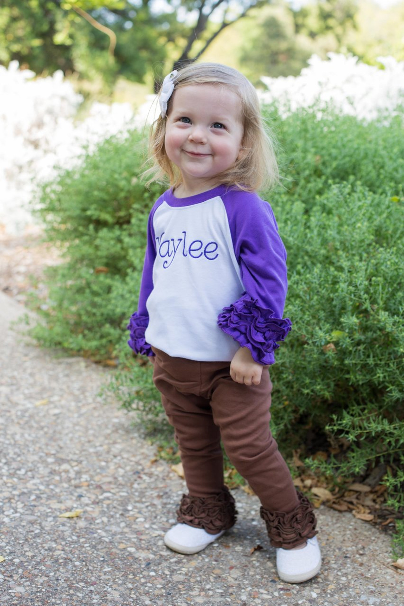 purple ruffle raglan