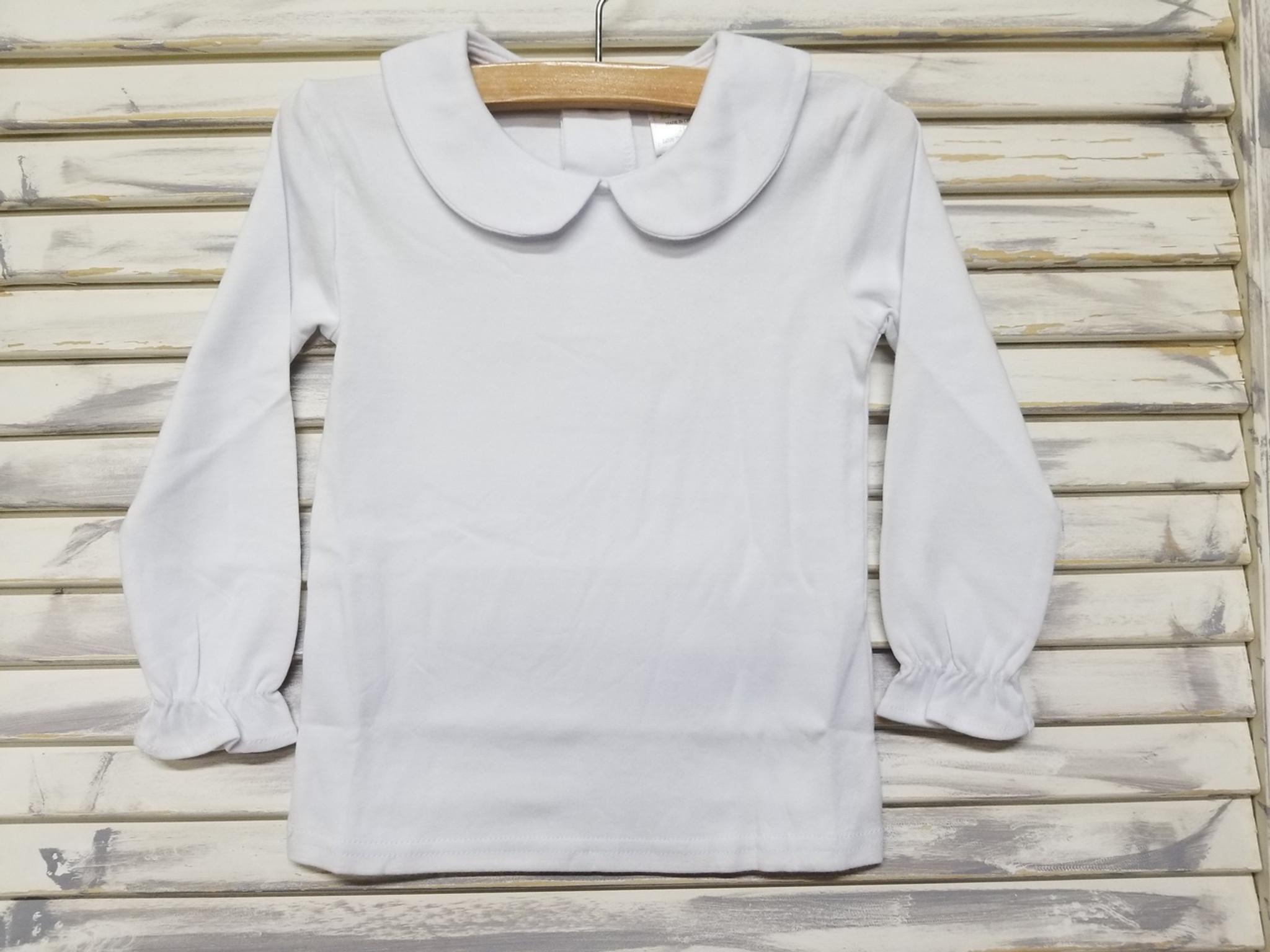 Girls Long sleeve peter pan collar shirt without crochet detail