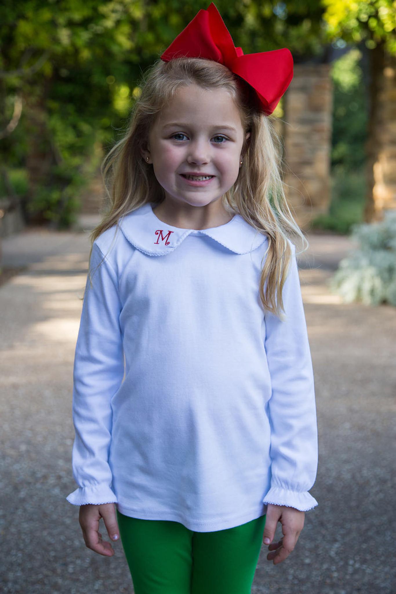 Girls Long Sleeve Peter Pan Collar Shirt