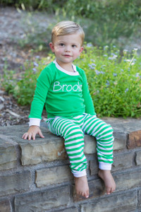 green and white jammies