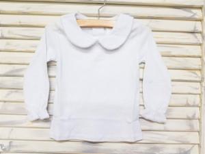 Girls Long sleeve peter pan collar shirt with crochet detail