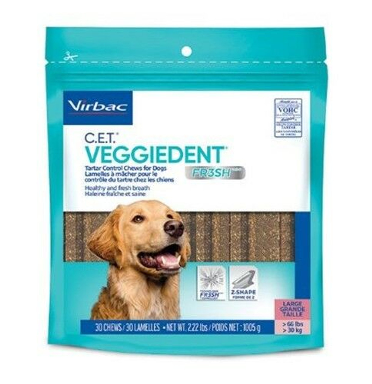 C.E.T. VeggieDent FR3SH Tartar Control Chews for Large Dogs, 30 Ct.