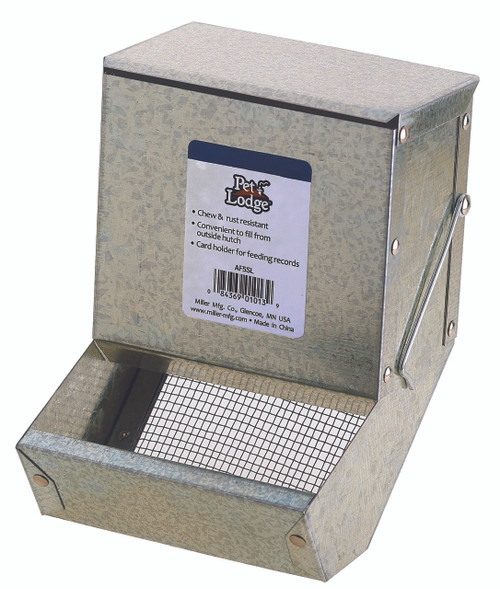 "5"" Metal Rabbit Feeder with Lid & Sifter Bottom"