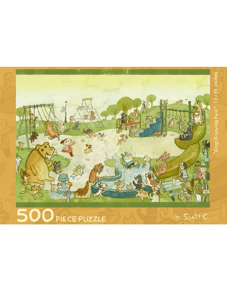 Dogs Enjoying Park 500 Piece Puzzle
