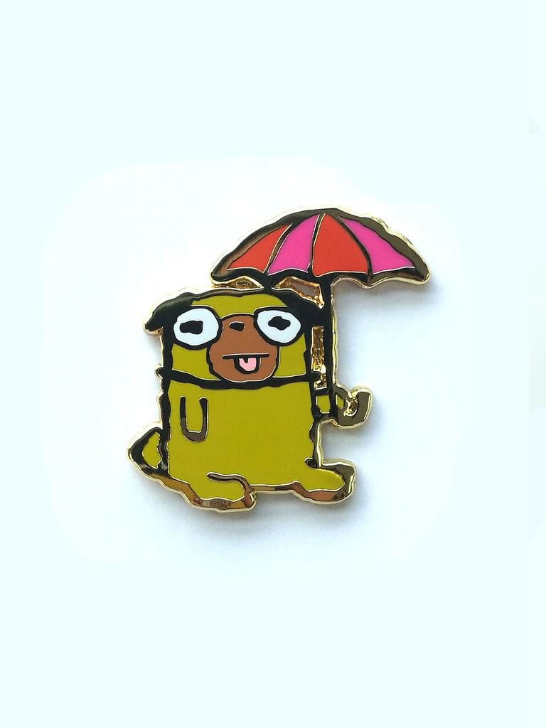 Umbrella Dog Pin