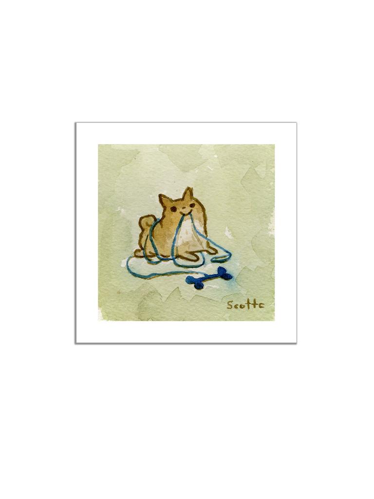 Blue Bone Dog Print