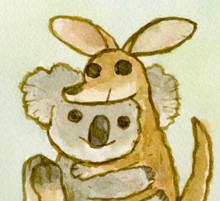 Koala Kangaroo Hug - An Australian Wildlife Relief Print