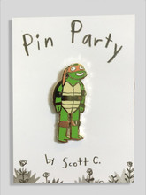 The Orange Masked Turtle Pin