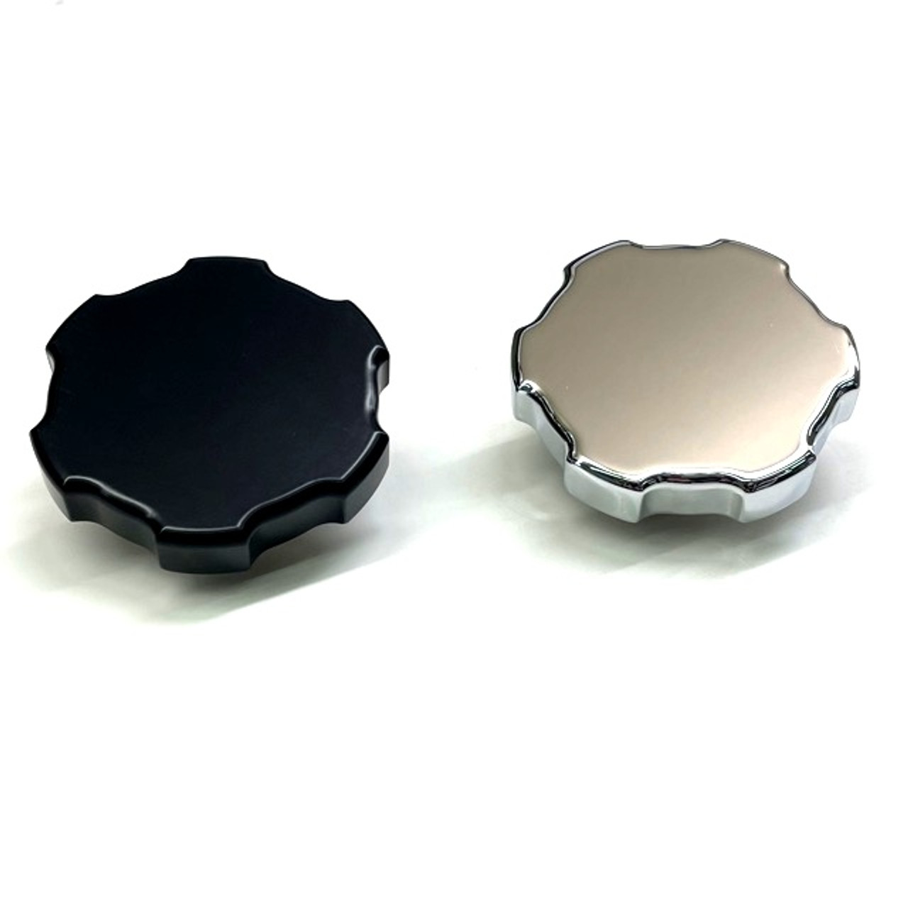 black and chrome billet radiator caps