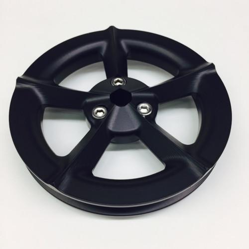 Black Billet Vacuum Pump Pulley - Aluminum 5 Blade Propeller