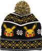 Pokemon Pikachu Fair Isle Cuff Pom Beanie