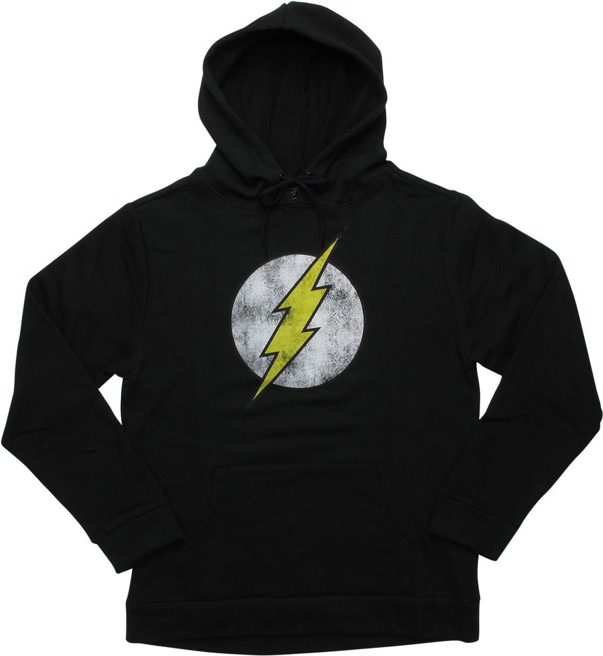 Flash Symbol Distressed Pullover Black Hoodie