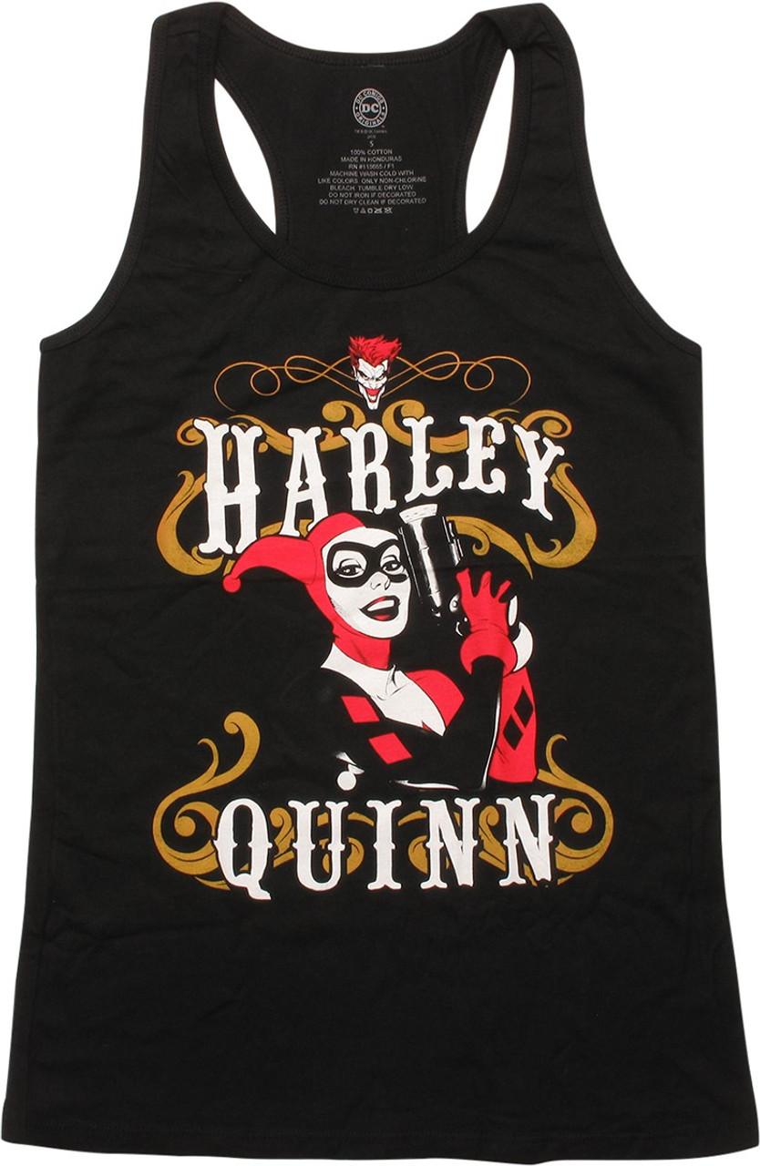 Batman Harley Quinn Smoking Gun DC Comics Junior V Neck T Shirt
