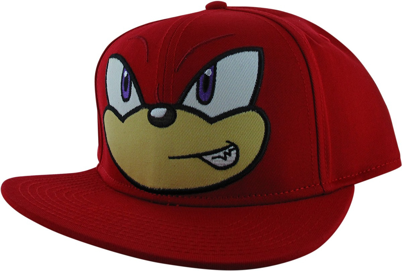 Sonic The Hedgehog Knuckles Face Red Snapback Hat