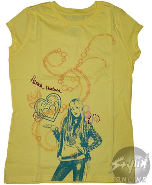 Hannah Montana Yellow Hearts Tween T-Shirt