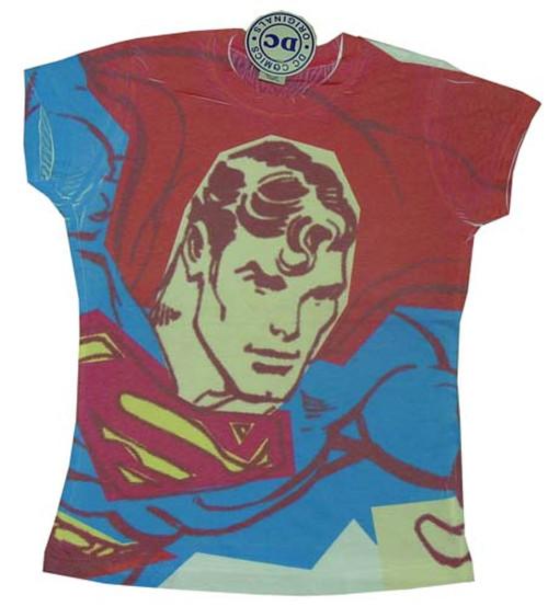 Superman Portrait Sublimated Juniors T-Shirt