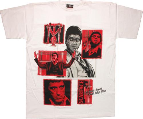 Scarface Plaid Boxes White T-Shirt