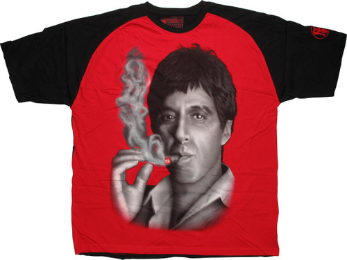 Scarface Smoke Grayscale Face T-Shirt