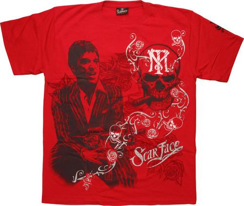 Scarface Smoking Skull Red T-Shirt