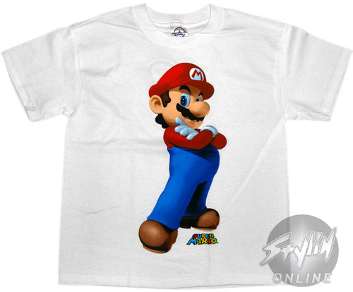 Mario Arms Crossed Youth T-Shirt