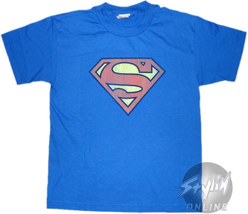 Superman Retro Logo Distressed Youth T-Shirt