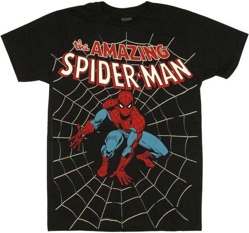 Spiderman Web Crouch Black T Shirt Sheer