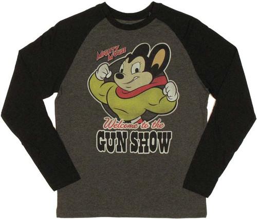 Mighty Mouse Gun Show Raglan T Shirt