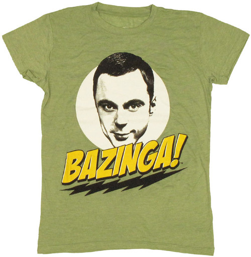 Big Bang Theory Bazinga Face Green Juniors T-Shirt