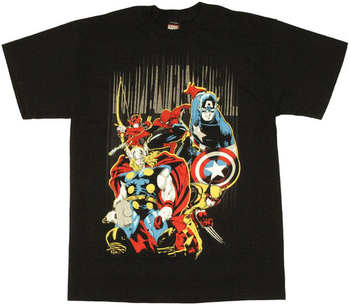 Marvel Heroes Name Stripes T Shirt
