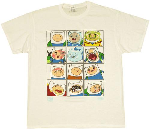 Adventure Time Finn Faces T Shirt