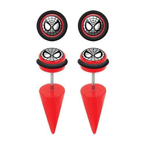 Spiderman Faux Taper Earrings