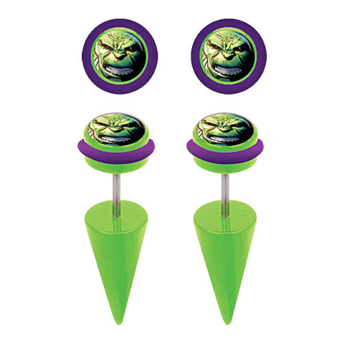 Incredible Hulk Faux Taper Earrings