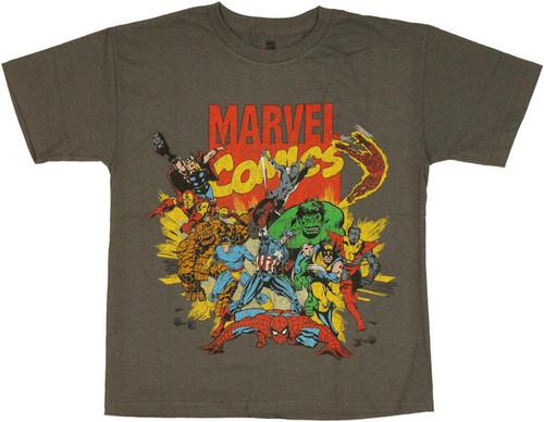 Marvel Comics Retro Group Youth T Shirt
