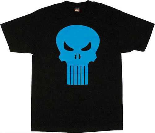 Punisher Six Tooth Blue Skull T Shirt