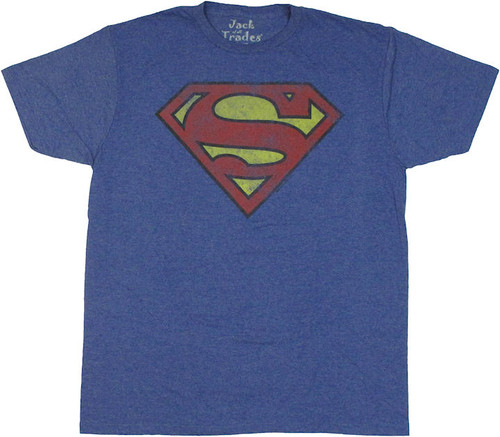 Superman Worn Logo T Shirt Sheer