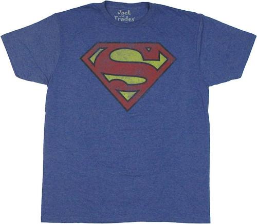 Superman Worn Logo T Shirt Sheer