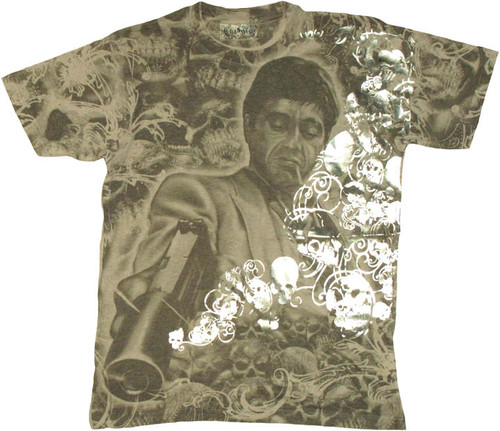 Scarface Foil Skull T Shirt Photo Sheer