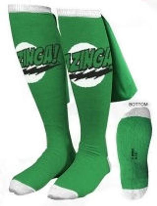 Big Bang Theory Bazinga Green Caped Socks